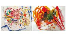 One of these paintings is by noted artist Hans Hoffman, and the other is by a young child.