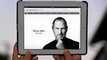 An iPad 2 displays Apple's website in honour of Steve Jobs. (FREDERIC J. BROWN/Frederic J. Brown/AFP/Getty Images)