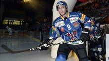 Tyler Seguin from EHC Biel enters the ice prior to the Swiss championship hockey match between EHC Biel and Rapperswil-Jona Lakers, Saturday Sept. 29, 2012, in Biel, Switzerland. (Associated Press)