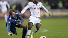 Tottenham's Jermain Defoe controls the ball during a Europa League group match (Ivan Sekretarev/The Associated Press)