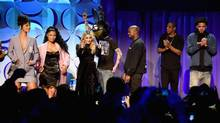 From left to right, artists Rihanna, Nicki Minaj, Madonna, deadmau5, Kanye West, Jay Z and J. Cole help launch music-streaming service Tidal in New York on Sunday. (Jamie McCarthy/Getty Images for Roc Nation)