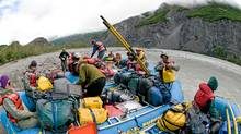Heavy packing is needed for a two week raft journey down the Alsek River in Canada's North. (Bruce Kirkby/Bruce Kirkby)
