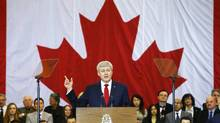 Prime Minister Stephen Harper announces Canada's sweeping new anti-terror legislation at a news conference in Richmond Hill, Ont. (Mark Blinch/Reuters)