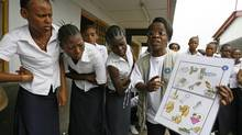 A staff member of Medecins du Monde holds a board with sex education information as she speaks to adolescents in a school in Kinshasa, the Democratic Republic of Congo. (Jacky Naegelen/REUTERS)