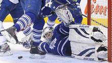 Toronto Maple Leafs goalie James Reimer guards the net against the Tampa Bay Lightning at Air Canada Centre. (USA TODAY Sports)