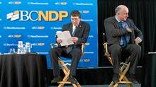 British Columbia NDP leadership candidates Nicolas Simons, left, and Mike Farnworth await the start of a debate in Surrey, B.C., on Sunday March 20, 2011. (DARRYL DYCK/THE CANADIAN PRESS)