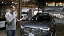 In this Dec. 13, 2016, file photo, Anthony Levandowski, head of Uber's self-driving program, speaks about their driverless car in San Francisco. (Eric Risberg/AP)