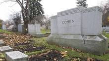 Leonard Cohen's family plot is shown at a cemetery in Montreal on Saturday, Nov. 12, 2016. The Montreal musical icon was returned home for a traditional Jewish memorial service three days after he died in Los Angeles. He was 82. (Graham Hughes/THE CANADIAN PRESS)