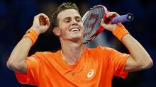 Canada's Vasek Pospisil reacts after winning his quarter final match against Ivan Dodig of Croatia at the Swiss Indoors ATP tennis tournament in Basel October 25, 2013. (ARND WIEGMANN/REUTERS)