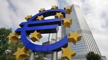 A huge symbol of the Euro stands in front of the headquarters of the ECB at the European Central Bank. (DOMINIQUE FAGET/AFP/Getty Images)