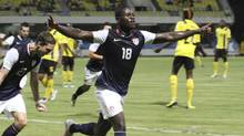 Eddie Johnson of the U.S. celebrates after scoring a goal against Antigua and Barbuda during their 2014 World Cup qualifying soccer match in St. John's, Antigua, October 12, 2012. (STRINGER/REUTERS)