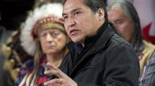 Athabasca Chipewyan First Nation Chief Allan Adam speaks during a news conference Wednesday March 20, 2013 in Ottawa. Chief Adam and other native leaders reinforced their opposition to both the Gateway and Keystone XL pipelines. (Adrian Wyld/THE CANADIAN PRESS)