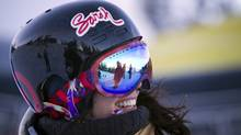 Roz Groenewoud of the Canadian Freestyle Ski team takes a break from training at Whistler-Blackcomb in Whistler, British Columbia on January 2, 2013. (Ben Nelms for the Globe and Mail)