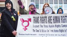 Jacqie Lucas, Susan Gapka, Davina Hader and Boyd Kodak rally a small group of protesters at a demonstration, on February 15, 2014, aimed at bring attention to Bill C-279, which would protect transgender Canadians against discriminatoin in the Canadian Human Rights Act. (Jennifer Roberts for The Globe and Mail)