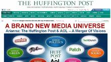 The announcement of AOL Inc acquiring The Huffington Post is seen on a screen shot of The Huffington Post website taken February 7, 2011. (Reuters/Reuters)
