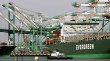 A container ship is docked at the Port of Los Angeles in California in this file photo. (ROBERT GALBRAITH/REUTERS)