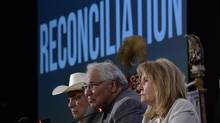 Commission chairman Justice Murray Sinclair (centre) and fellow commissioners Marie Wilson (right) and Wilton Littlechild discuss the commission's report on Canada's residential school system at the Truth and Reconciliation Commission in Ottawa on Tuesday, June 2, 2015. THE CANADIAN PRESS/Adrian Wyld (Adrian Wyld/THE CANADIAN PRESS)