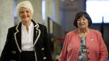 Education Minister Liz Sandals, left, arrives at a press conference at Queens Park with Margaret Wilson.