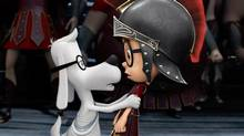 "Sherman, voiced by Max Charles, right, and Mr. Peabody, voiced by Ty Burell, in a scene from ""Mr Peabody & Sherman."" (DreamWorks Animation)"