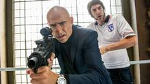 Mark Strong and Sacha Baron Cohen in The Brothers Grimsby. (Daniel Smith)