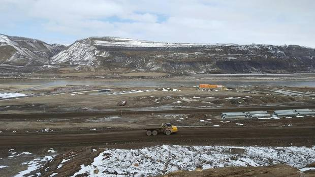 Construction of the controversial Site C hydroelectric dam project in northern British Columbia.