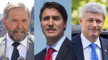From left to right, NDP Leader Thomas Mulcair, Liberal Leader Justin Trudeau and Conservative Leader Stephen Harper