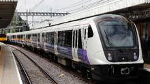 The first new Elizabeth line train, a Bombardier Class 345 train, is seen at Shenfield station, east of London. (ADRIAN DENNIS/AFP/Getty Images)