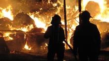 Firefighters battle a blaze in a barn on a farm near Bowmanville, Ontario early Thursday March 22, 2007. (CP PHOTO/Doug Ives) CANADA (Doug Ives/CP)