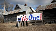 A sign near farm building in Marshalltown, Iowa, on Jan. 1, 2012. (Daniel Acker/Daniel Acker)