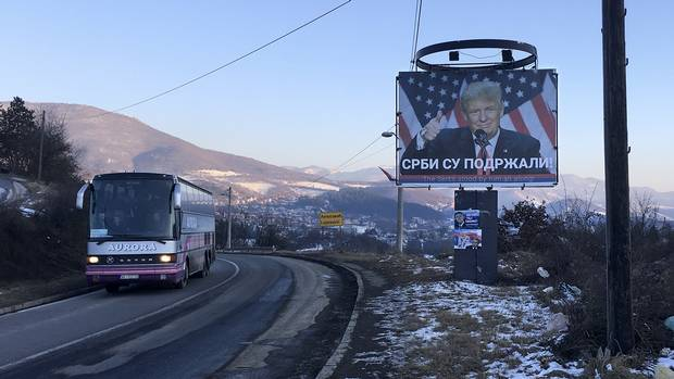 Billboards boasting of Serbia's support for Donald Trump line the highways of Serb-dominated northern Kosovo.
