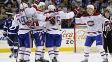 Montreal Canadiens celebrate P.K. Subban's goal (Brian Blanco/The Associated Press)
