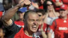 Toronto FC's Danny Koevermans celebrates his goal against the Philadelphia Union during the second half of their MLS soccer match in Toronto May 26, 2012. REUTERS/ Mike Cassese (MIKE CASSESE)