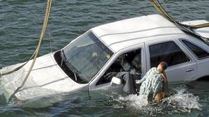 It's possible to swim out of the vehicle through the window, Gordon Giesbrecht concluded, even with a torrent of water flowing in. Remember to push the kids out first, Dr. Giesbrecht says.