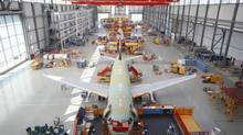 Hamburg is one of the main production lines for Airbus Industrie. (Courtesy Airbus)