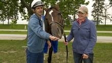 Jockey Steven Bahen and trainer Rachel Halden with Nipissing, a filly ranked among the favourites for Sunday's 154th running of the Queen's Plate. trainer Rachel Halden. (WEG/Michael Burns)