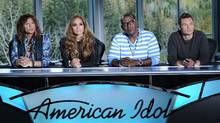"Steven Tyler, Jennifer Lopez, Randy Jackson and Ryan Seacrest return for a new season of ""American Idol."" (Fox)"