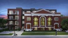 Rendering of the Sunday School Lofts, a conversion of the former Temple Baptist Church at 14 Dewhurst Blvd. off the Danforth near Jones Ave., by Grid Developments. (Grid Developments)