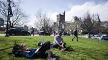 Undergraduate students are seen studying on the grounds of the University of Toronto downtown campus on Tuesday, April 11, 2017. (Christopher Katsarov/The Globe and Mail)
