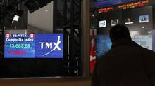 File photo of a screen showing the TSX composite index down over 200 points in the afternoon at the TMX Broadcast Centre in The Exchange Tower in Toronto (Deborah Baic/Deborah Baic/The Globe and Mail)