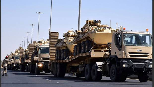 The Saudi Arabian National Guard, a buyer of Canadian-made light armoured vehicles, posted this photo on Twitter in November, 2015. It shows combat vehicles being moved to Najran, a Saudi town near the border with Yemen.