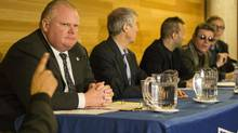 Toronto Mayor Rob Ford sits with fellow candidates (left to right) David Soknacki, Robb Johaness, Al Gore and Richard Underhill during a Mayoral Candidates event at University of Toronto Scarborough Campus on Wednesday February 5, 2014. (Chris Young for The Globe and Mail)