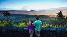Halemaumau crater smokes in the distance at Hawaii Volcanoes National Park on the Big Island of Hawaii. (Hawaii Tourism)