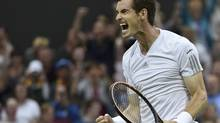 Andy Murray of Britain reacts after defeating Kevin Anderson of South Africa in their men's singles tennis match at the Wimbledon Tennis Championships, in London June 30, 2014. (TOBY MELVILLE/REUTERS)