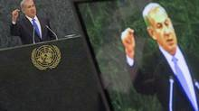 Israel's Prime Minister Benjamin Netanyahu is pictured on a television monitor while addressing the 68th session of the United Nations General Assembly in New York October 1, 2013. (ADREES LATIF/REUTERS)
