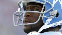 In this photo taken on Nov. 15, 2009, Tennessee Titans quarterback Vince Young looks on during the third quarter of an NFL football game against the Buffalo Bills in Nashville, Tenn. (Wade Payne/AP)