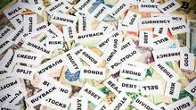 financial words cards on money