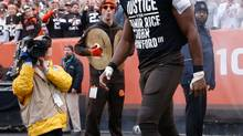 Andrew Hawkins of the Cleveland Browns walks onto the field while wearing a protest shirt during introductions prior to the game against the Cincinnati Bengals at FirstEnergy Stadium on December 14, 2014 in Cleveland. (Joe Robbins/Getty Images)