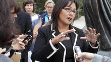 Health Minister Leona Aglukkaq speaks at the Canadian Medical Association conference in Yellowknife. (Bill Braden for The Globe and Mail)