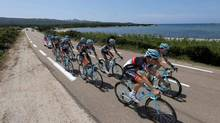 Radioshack-Leopard team riders cycle during a training session for the centenary Tour de France cycling race in Porto-Vecchio, June 28, 2013 on the French Mediterranean island of Corsica. The race will start on June 29 with a 213km stage from Porto-Vecchio to Bastia. (BENOIT TESSIER/REUTERS)