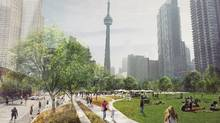 Toronto wants to deck over the open rail corridor between Bathurst and Blue Jays for a downtown park.